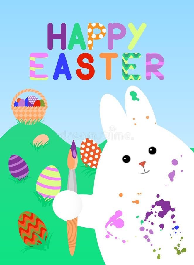 Ostern-Karte mit dem weißen Kaninchen, geschmiert mit Pinsel in seiner Tatze In der Hintergrundlüge färbte das Gras Eier mit Must stock abbildung