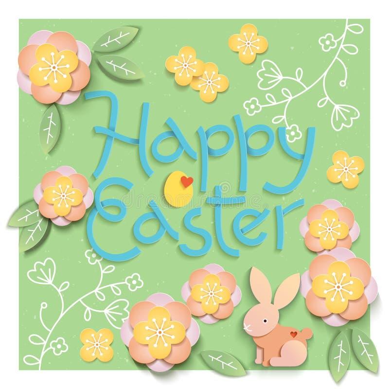 Ostern-Karte mit Papier schnitt Eiformrahmen mit Frühlingsblumen auf grünem Hintergrund Auch im corel abgehobenen Betrag lizenzfreie abbildung