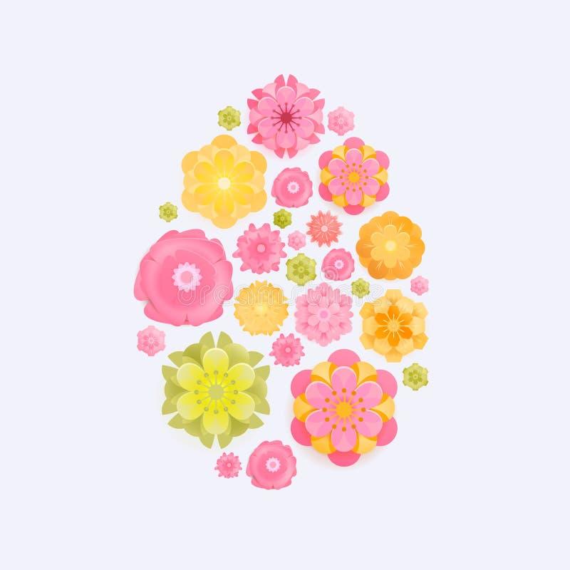 Ostern-Karte mit Papier schnitt Frühlingsblumen im Eiformrahmen, der auf weißem Hintergrund lokalisiert wurde Auch im corel abgeh lizenzfreie abbildung