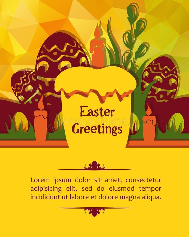 Ostern-Kartenkuchen und -eier stockfoto