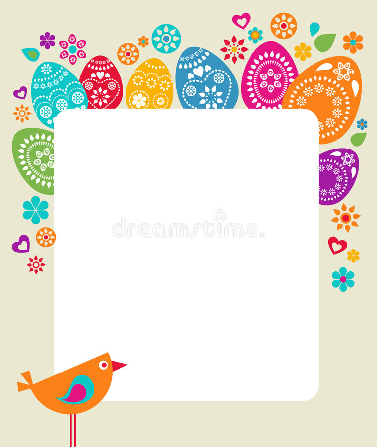 Ostern-Kartenschablone mit farbigen Eiern stock abbildung