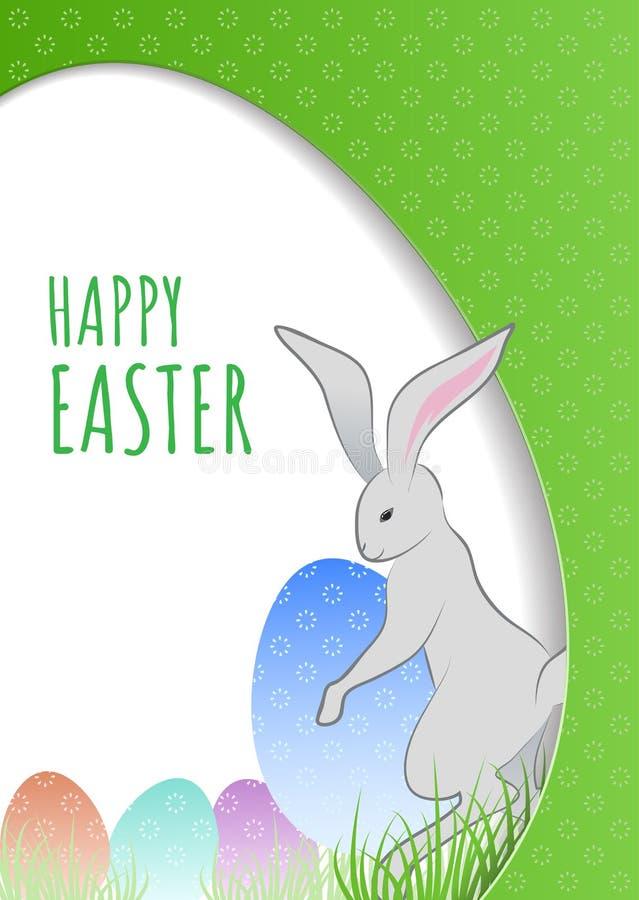 Ostern-Konzept mit dem Häschen und Eiern versteckt im Gras Schablone für Ostern-Postkarte, Einladungsfahne, Plakat lizenzfreie abbildung