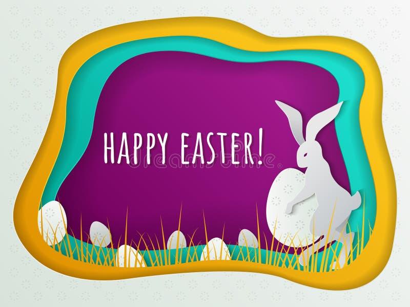 Ostern-Konzept mit dem Häschen und Eiern versteckt im Gras Schablone für Ostern-Postkarte, Einladungsfahne, Plakat stock abbildung