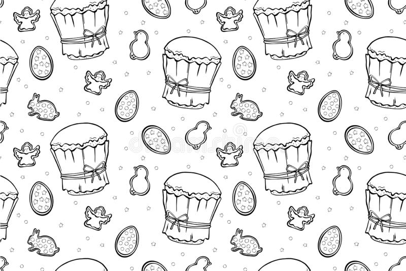 Ostern-Kuchen, Eier und nahtloses Muster der Engel vektor abbildung