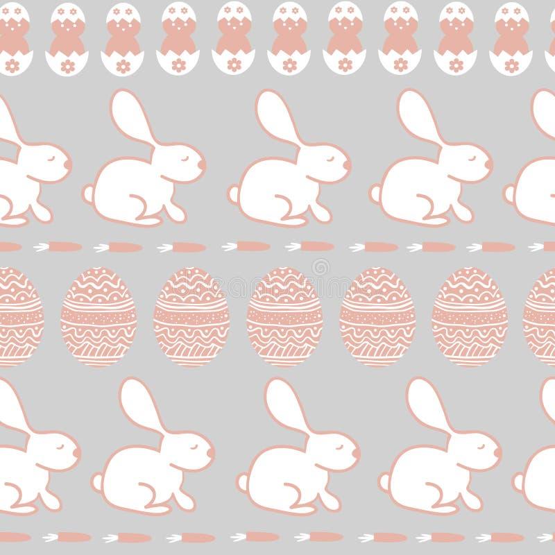 Ostern-nahtlose Beschaffenheit Nette Kaninchen, Eier und Karotten vektor abbildung