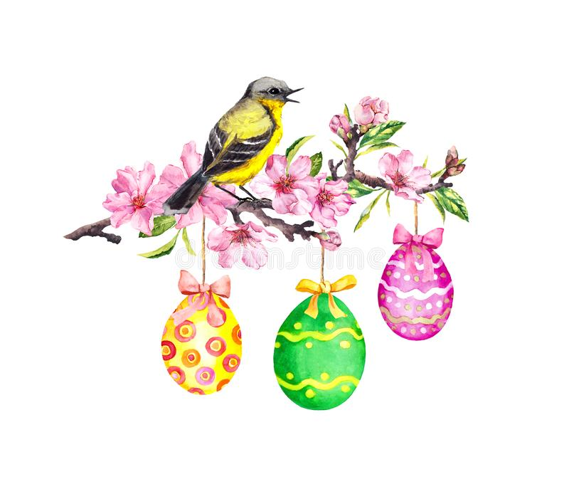 Ostern-Niederlassung - Vogel, farbige Eier, Frühlingsblumen Frühlingsblumenzweig, Aquarell stock abbildung
