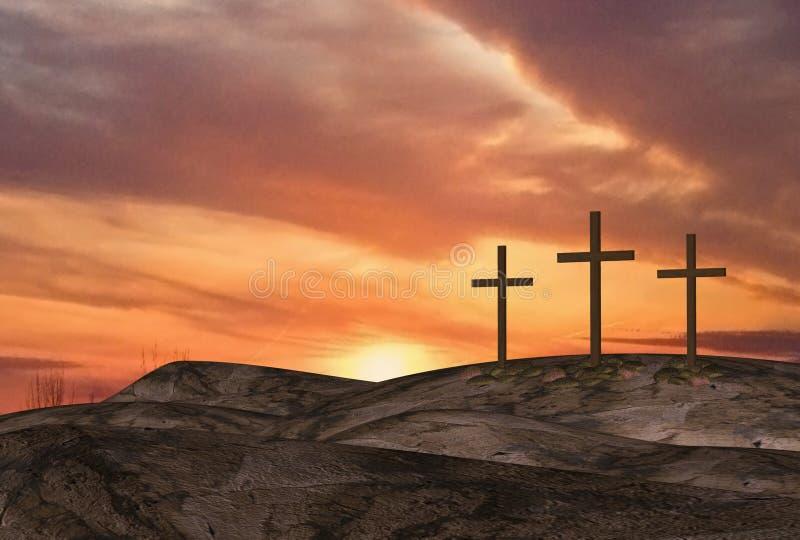 Ostern-Sonnenaufgang drei Kreuze lizenzfreie abbildung