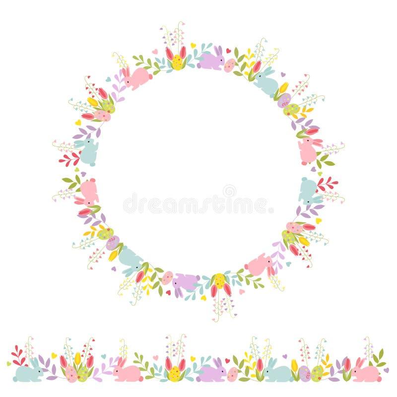 Ostern stellte von der horizontalen Blumenverzierung mit Karikaturhäschen und dekorativem Kranz ein Farbvektor lokalisiert auf w lizenzfreie abbildung