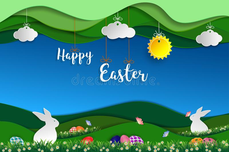 Ostern-Tag mit weißen Kaninchen, bunten Eiern, Schmetterling und kleinem Gänseblümchen auf Gras vektor abbildung