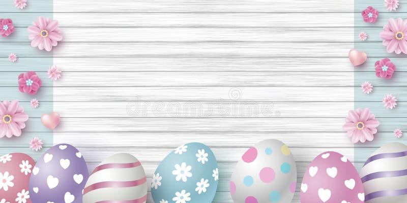 Ostern-Tagesentwurf von Eiern und von Blumen auf weißer hölzerner Beschaffenheitshintergrund-Vektorillustration vektor abbildung