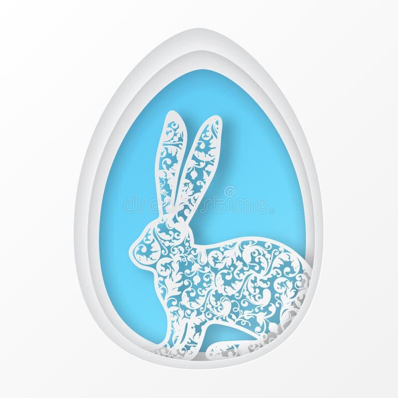Ostern tapezieren Kunstei und nettes aufwändiges Kaninchen mit Blumenmotiven lizenzfreie abbildung