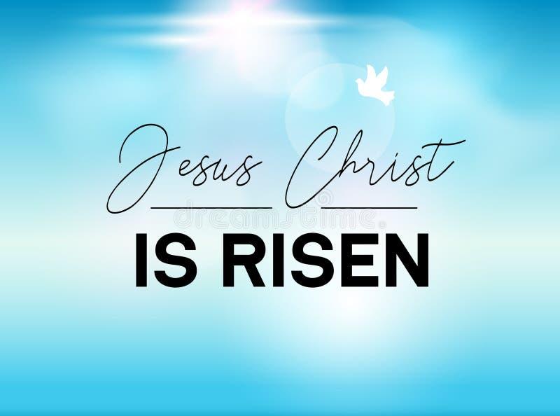 Ostern-Typografiefahne ist er gestiegener Himmel und Sonne Jesus Christ unser Gott wird gestiegen Christsonntags-resuraction für  vektor abbildung