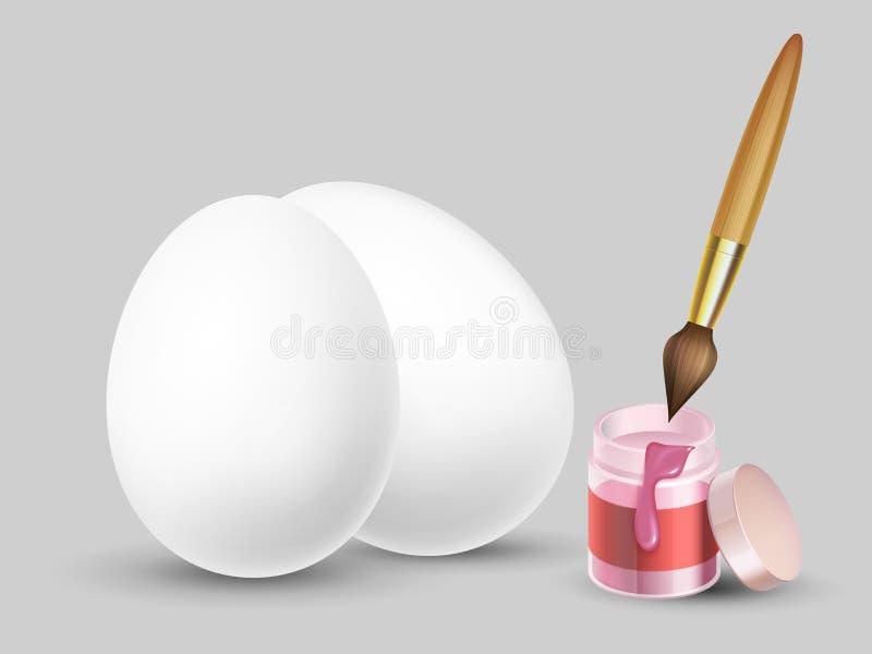 Ostern-Vektorhintergrund mit realistischen weißen Eiern, Bürste und Farbe lizenzfreie abbildung