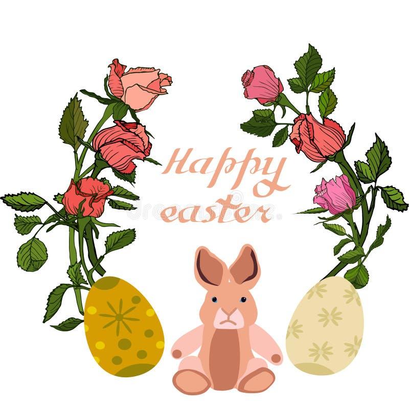 Ostern-Vektorillustration mit Eiern, rosafarbenen Blumen und Häschen Ausgezeichnet für das Design von Postkarten, von Poster, von stockfoto