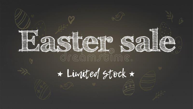 Ostern-Verkauf, begrenzter Vorrat Feiertagsanzeige auf Kreidetafel Handgeschriebener Text auf Hintergrund des Musters der Gekritz stock abbildung