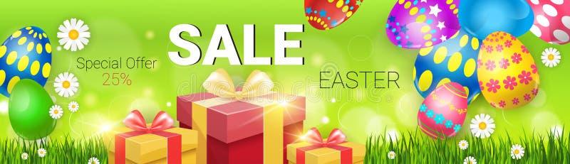 Ostern-Verkaufs-kaufendes Sonderangebot verzierte bunte Ei-Feiertags-Fahne vektor abbildung