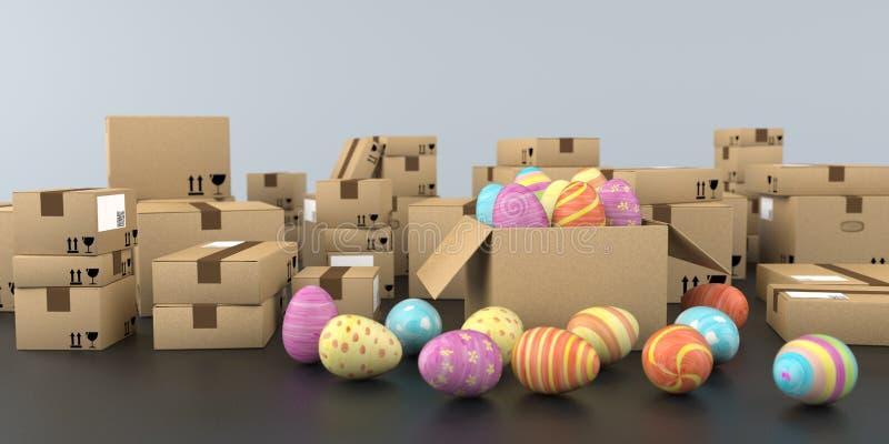 Ostern-Versand f?rbte Eier lizenzfreie abbildung