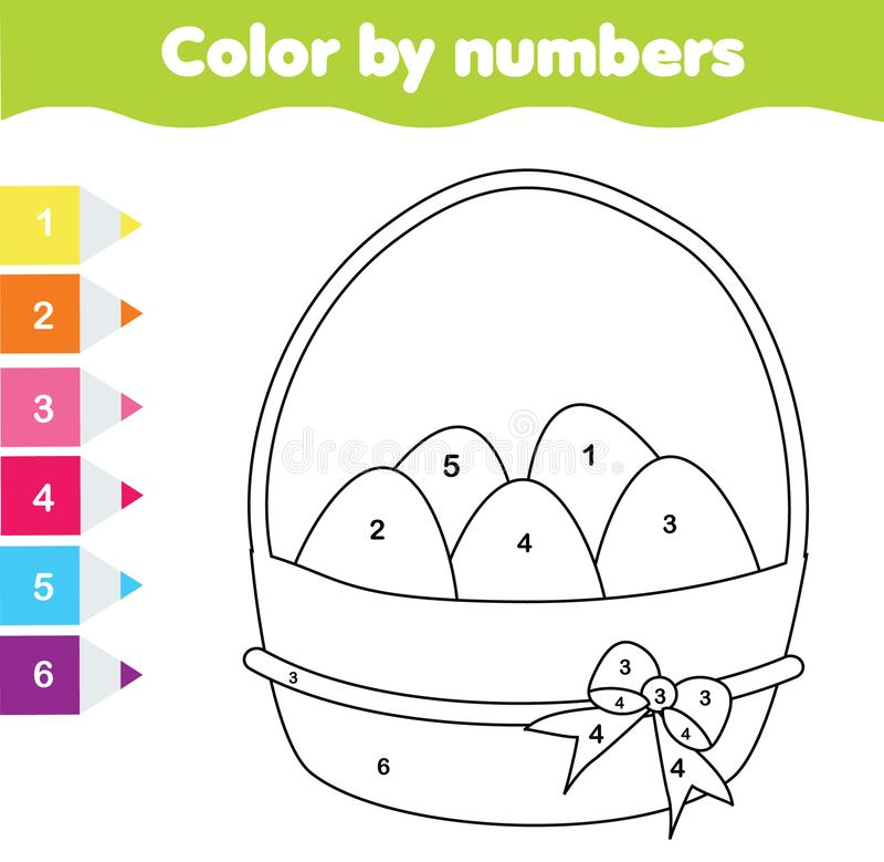 Ostern-Zeichnungsspiel Farbe durch Zahlen, bedruckbares Arbeitsblatt Farbtonseite mit Ostereiern Lernspiel für Kleinkinder und Ki lizenzfreie abbildung