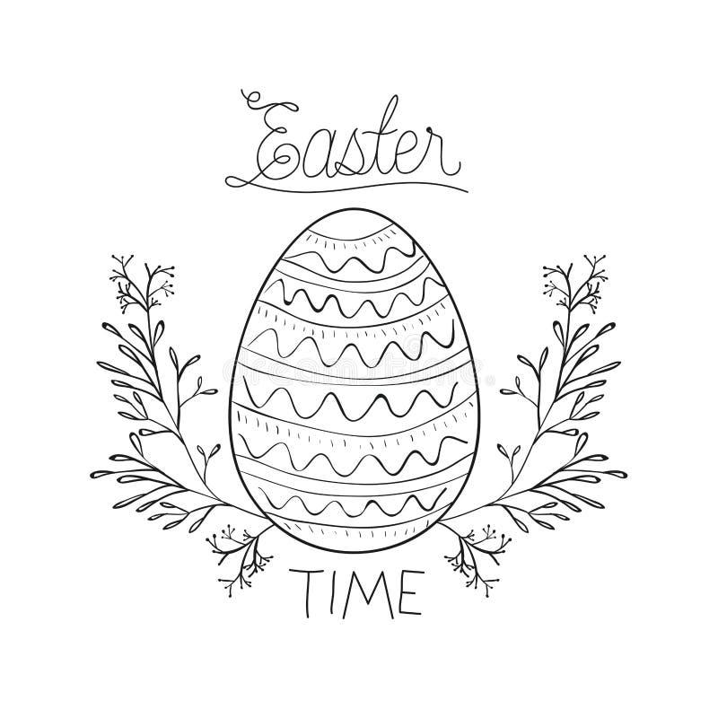 Ostern-Zeitplakat mit Osterei, das durch Niederlassungen umgeben wird, krönen im einfarbigen Schattenbild lizenzfreie abbildung