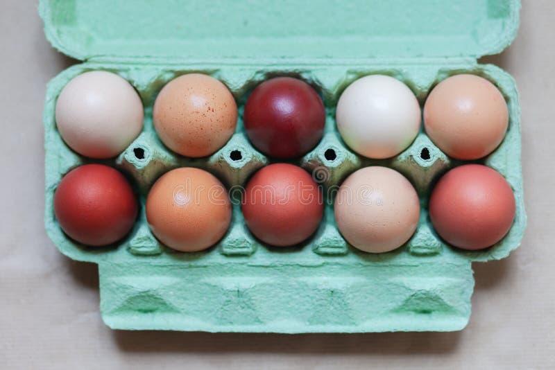 Ostern-Zusammensetzung mit farbigen Eiern lizenzfreie stockbilder