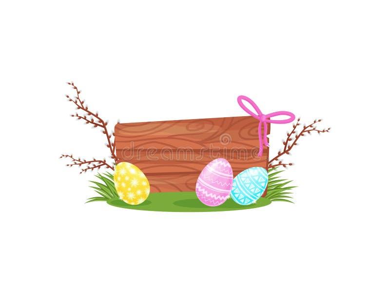 Ostern-Zusammensetzung mit hölzernem Brett, malte Eier auf Niederlassungen des grünen Grases und der Pussyweide Flaches Vektordes stock abbildung
