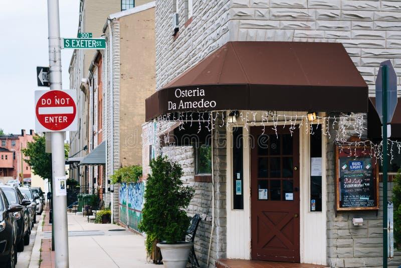 Osterya Da Amedeo w Małym Włochy, Baltimore, Maryland zdjęcie royalty free