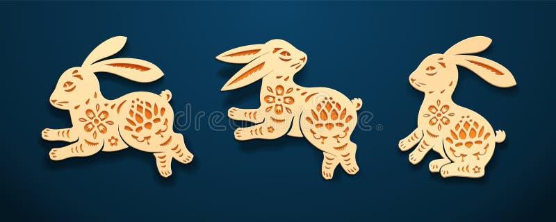 Osthäschen oder Kaninchen, Hasetierpapierkunst stock abbildung
