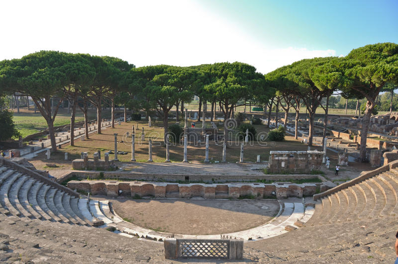 Ostia Antica - Ancient city. This is a view of Ostia Antica - Romanian ancient city, the biggest harbour in ancient Romanian Empire. September 6, 2014. Ostia royalty free stock photo