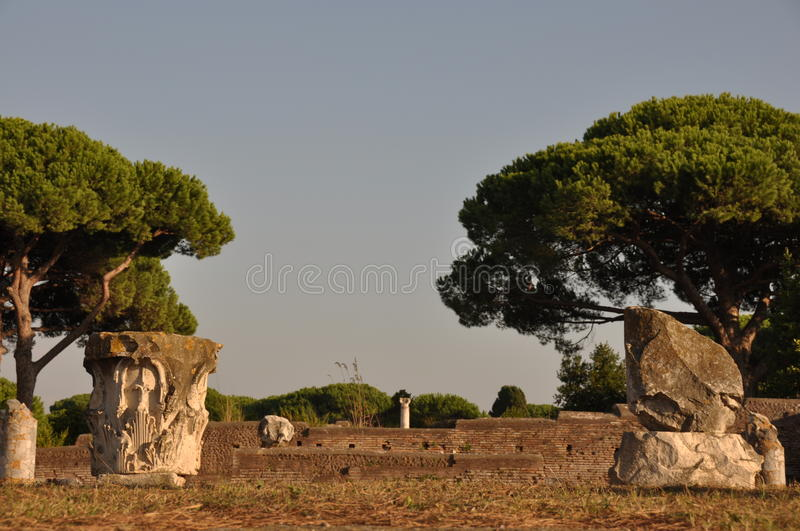 Ostia Antica - Ancient city. This is a view of Ostia Antica - Romanian ancient city, the biggest harbour in ancient Romanian Empire. September 6, 2014. Ostia stock photos