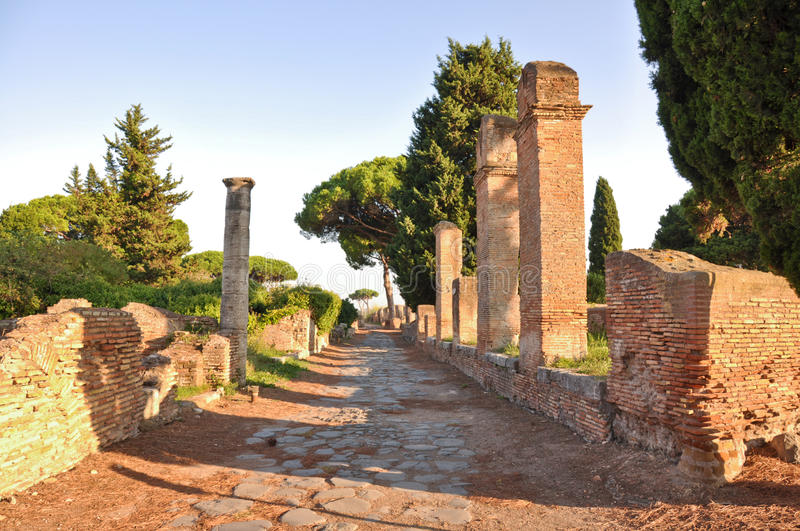Ostia Antica - Ancient city. This is a view of Ostia Antica - Romanian ancient city, the biggest harbour in ancient Romanian Empire. September 6, 2014. Ostia stock image