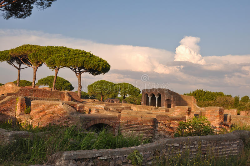 Ostia Antica - Ancient city. This is a view of Ostia Antica - Romanian ancient city, the biggest harbour in ancient Romanian Empire. September 6, 2014. Ostia royalty free stock photos