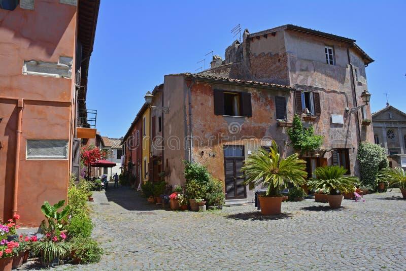 Ostia Antica Borgo. Buildings in the old village or borgo of Ostia Antica near Rome, Italy royalty free stock photo