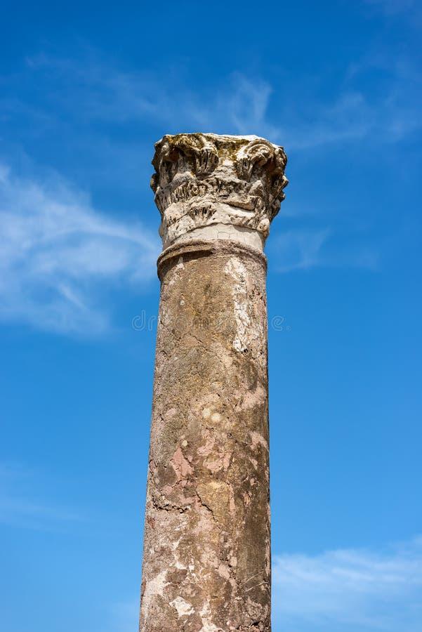 Ostia Antica Rome - colonne avec le capital dans le style corinthien photo libre de droits