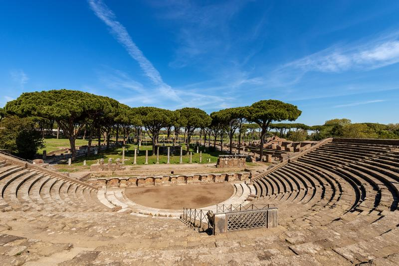 Ostia Antica Rome Italy - The Roman Theatre. Ostia Antica - The Roman Theatre. Rome, Italy, UNESCO world heritage site. Roman colony founded in the 7th century B stock photo