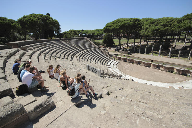Ostia Antica, Rome, Italy. Ruins of Roman Theatre seating and stage area, Ostia Antica, Rome. Ostia Antica is a large archeological site, close to the modern royalty free stock images