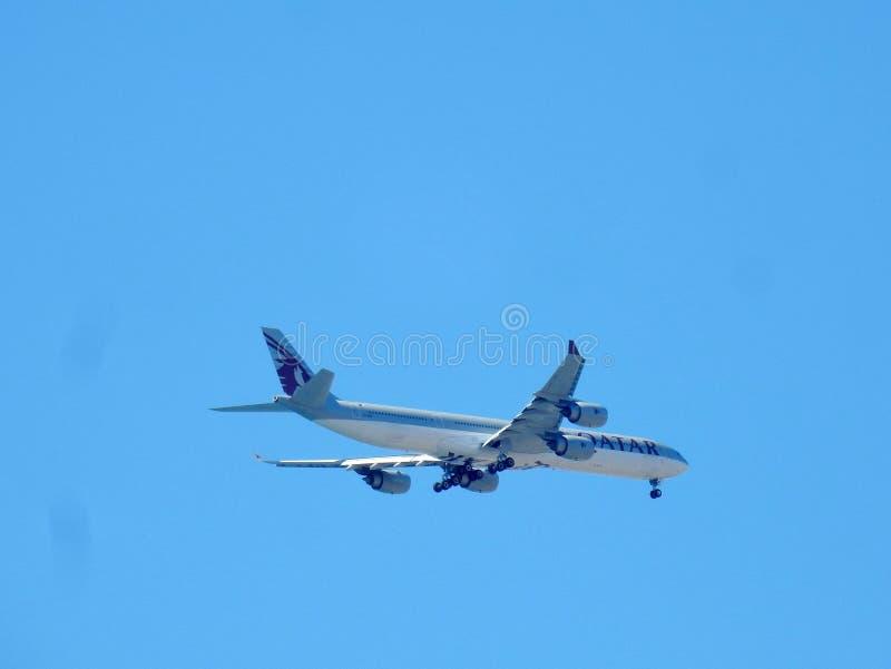 Ostia - Qatar plane landing at Fiumicino stock photo