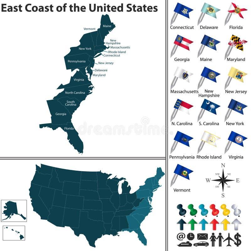 Ostküste der Vereinigten Staaten lizenzfreie abbildung