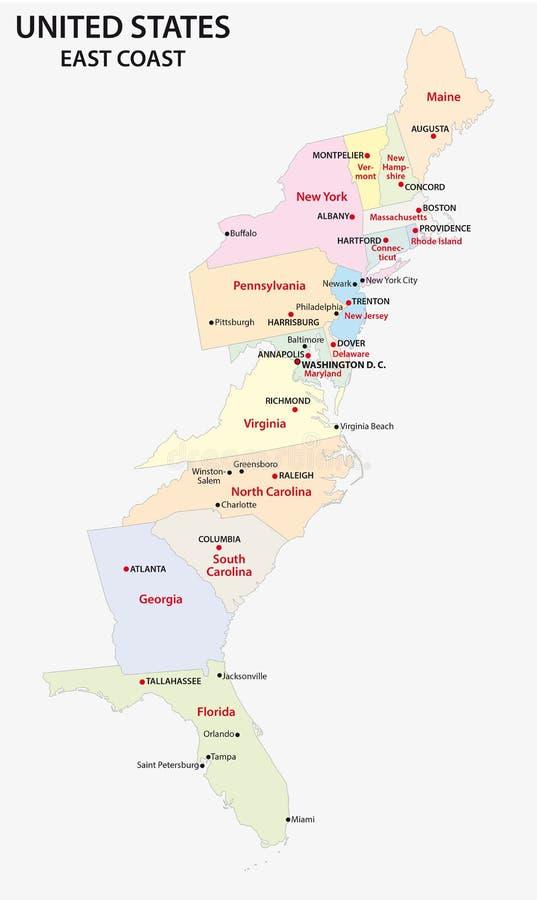 Ostküstenkarte Vereinigter Staaten vektor abbildung