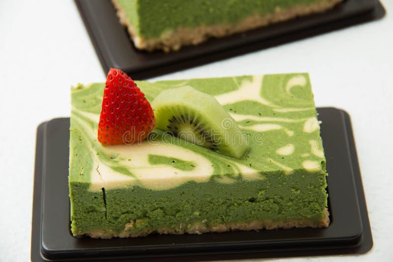 Ostkaka Matcha för grönt te royaltyfri fotografi