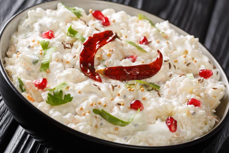 Ostmassaris eller Thayir Sadam är ett läckert södra indiskt recept var lagat mat ris blandas med ostmassa och blanda göras till d royaltyfri bild