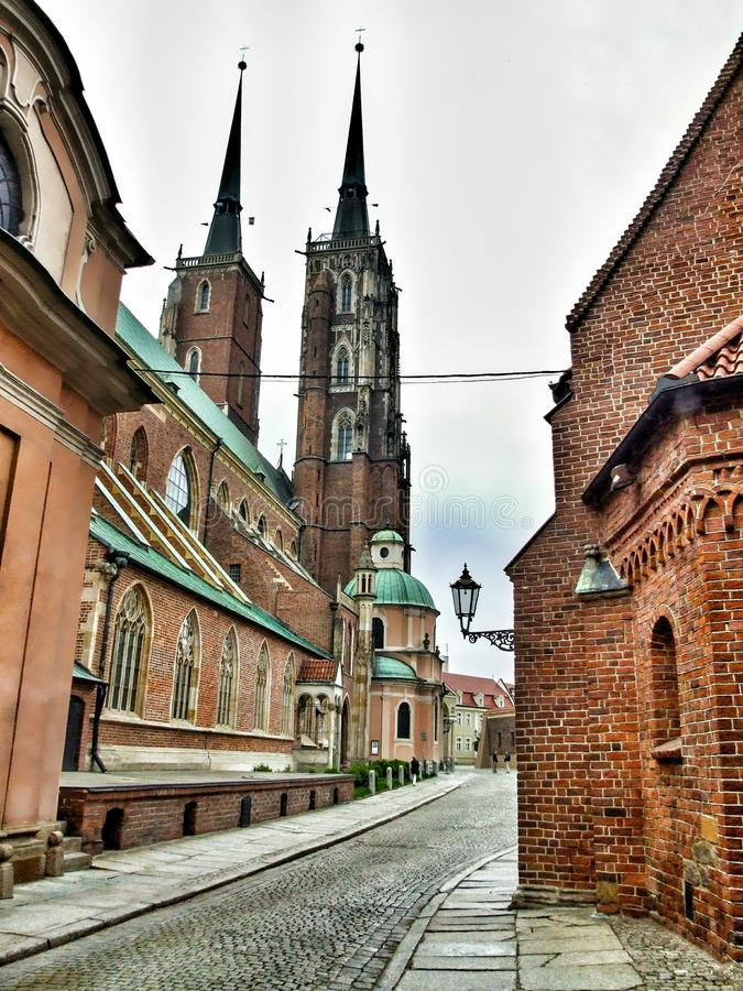 Ostrów Tumski and The Cathedral of St. John the Baptist in Wrocław in Poland. Roman Catholic Archdiocese of Wrocław and a landmark of the city of stock photography
