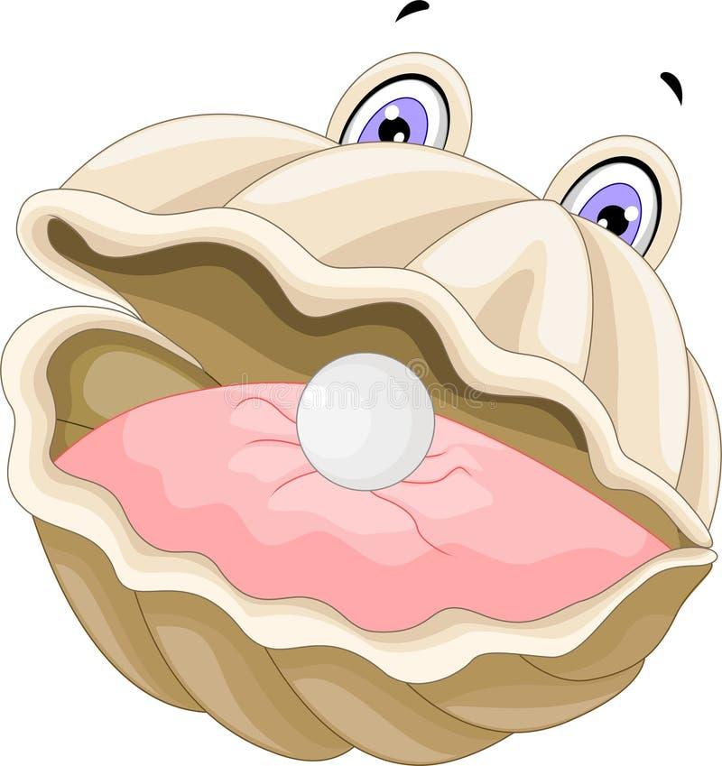 A ostra com uns desenhos animados da pérola para você projeta ilustração do vetor