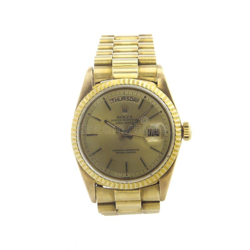 Ostra Daydate perpétuo de Rolex todo o ouro no fundo claro branco foto de stock