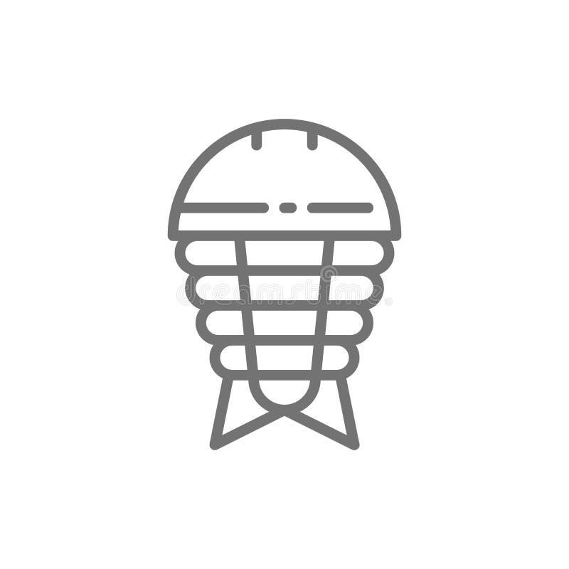 Ostracoderm, peixe pré-histórico, linha paleozoic ícone da era ilustração royalty free