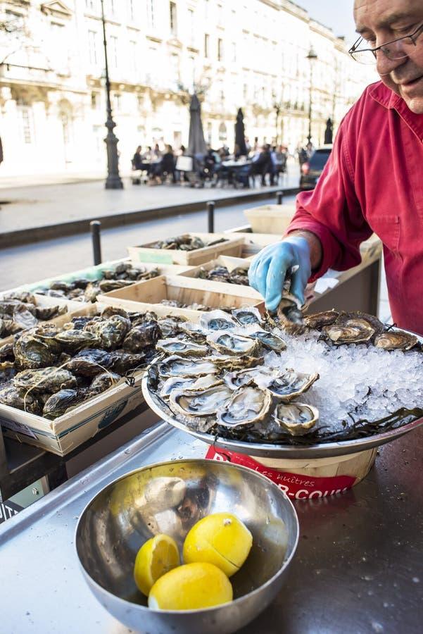 Ostras frescas, streetfood imagens de stock