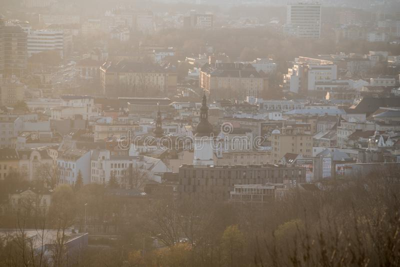 Ostrava city centre from Halda Ema hill in Czech republic during hazy autumn day. View to Ostrava city centre from Halda Ema hill in Czech republic during hazy royalty free stock images