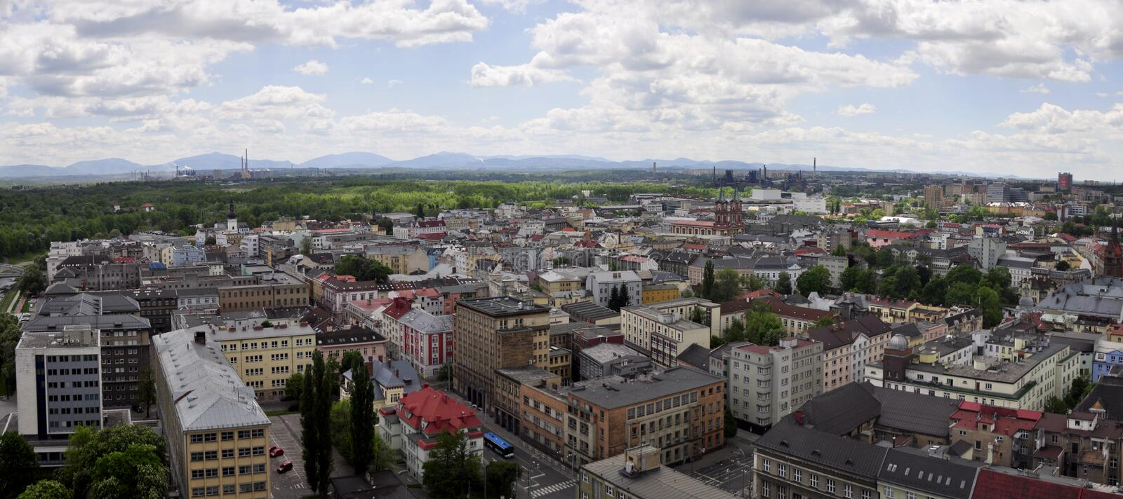 Ostrava city. View from City Hall to the surrounding Ostrava - Czech Republic royalty free stock image