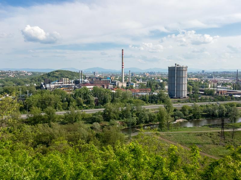 Ostrava cityscape. Industrial factory and city. Beskid mountains Beskids in the background. Industrial town in the Czech Republic, Czechia. View from Landek royalty free stock photo