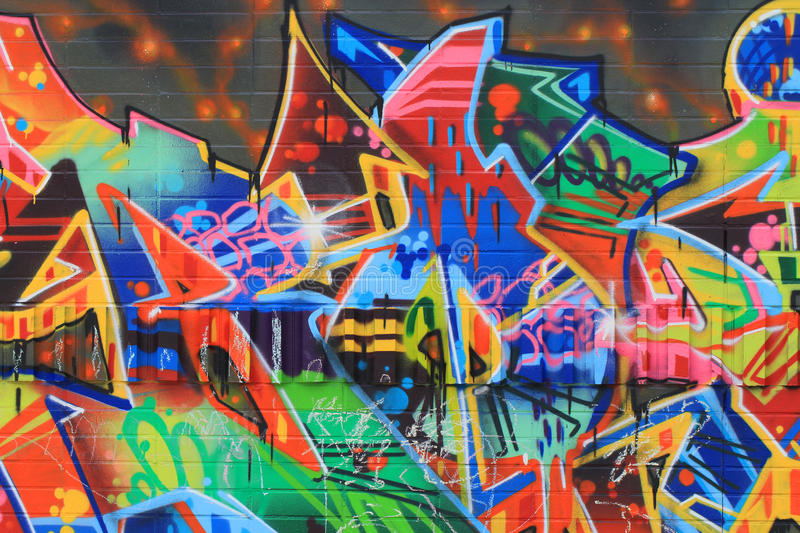 OSTRAVA, CZECH REPUBLIC - APRIL 10:The Milada Horakova Park since the 1990s filled by abstract color graffiti on April 10, 2014. Ostrava, Czech Republic royalty free stock images