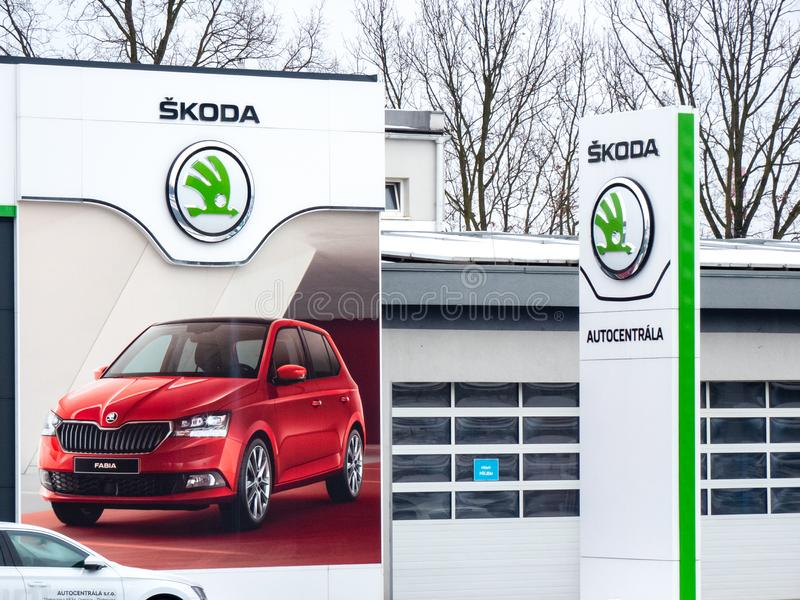 Dealership of a Czech Skoda Auto brand in Ostrava with company logos and a big banner of the Fabia royalty free stock photography